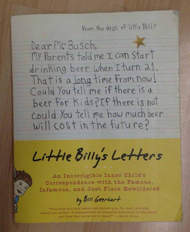 Cover depan buku, berisikan tentang surat Billy yang menanyakan tentang harga bir di masa depan.