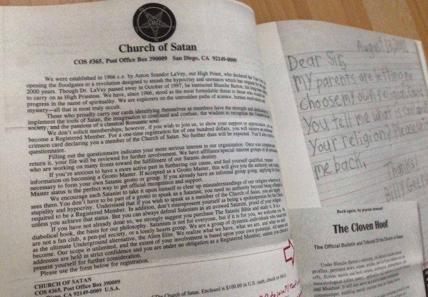 Surat balasan dari Churct of Satan setelah mereka menerima surat dari Billy yang menyebutkan bahwa dia diizinkan orang tuanya untuk memilih agama. Karena itu, dia mengirimkan surat ke Church of Satan untuk tahu apa kerennya agama ini.